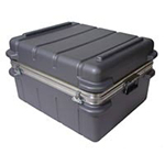 heavy-duty shipping case with black exterior